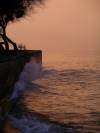 Greece - Diakofto (Peloponnese): breakwater at sunset - photo by R.Wallace