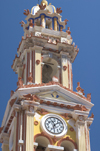 Greece, Dodecanese Islands, Symi island - Panormitis: Monastery of the Archangel Michael - the ornate bell tower - Dodecanese archipelago - photo by P.Hellander