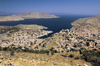Greece, Dodecanese Islands, Syme / Simi / Sömbeki: the port of Yialos from a high up viewpoint - photo by P.Hellander