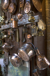 Greece, Dodecanese Islands,Rhodes: copper pots and pans in brick-a-brack tourist shop in Old Town - photo by P.Hellander