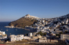 Greece, Dodecanese Islands,Astypalea: view of port (Skala) and Hora - photo by P.Hellander