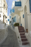 Greece, Dodecanese Islands,Nisyros: narrow streets of Mandraki with coloured wooden balconies - photo by P.Hellander