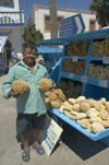 Greece, Dodecanese, Lipsi:sponge seller at the island's port - photo by P.Hellander