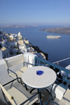 Greece, Cyclades, Santorini: early morning in Santorini. A cruise ship lies at anchor. - photo by P.Hellander