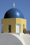 Greece, Cyclades, Santorini: the striking blue of the cupola of an inland church - photo by P.Hellander