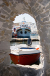 Greece - Paros: boats seen from the ruins of the Venetian castle in Naousa town - photo by D.Smith
