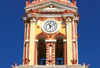 Greek islands - Dodecanese archipelago - Symi island - Panormitis - Monastery of the Archangel Michael - belltower clock - photo by A.Dnieprowsky