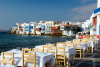 Greek islands - Mykonos (Hora) / Mikonos / JMK: Little Venice area seen from a restaurant - photo by David Smith