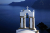 Greek islands - Santorini / Thira - Oia: bell tower over the Aegean sea - photo by A.Dnieprowsky