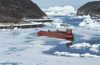 44 Disko bay - shipcemetery near Ilulissat / Jakobshavn - retired cargo barge - photo by W.Allgower