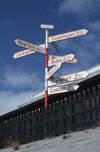 46 S?dre Str?fjord / Kangerlussuaq - airport - SAS Scandinavian airlines famous signpost with flight times - photo by W.Allgower