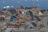 Greenland - Ilulissat / Jakobshavn - multicolored timberbuildings - in the background the Disko bay - photo by W.Allgower
