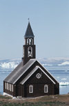 Greenland - Ilulissat / Jakobshavn - the Zion church, built in 1782 - it was shifted in 1930 to this location, beforeit stood 50 m closer to the shore - photo by W.Allgower
