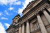 Ciudad de Guatemala / Guatemala city: columns and entablature - façade of the Metropolitan Cathedral - Catedral Metropolitana - photo by M.Torres