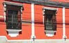 Ciudad de Guatemala / Guatemala city: 13a Calle - red building with caged windows - photo by M.Torres