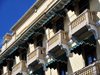 Ciudad de Guatemala / Guatemala city: hotel Royal Palace - balconies with awnings on 6 Av. and 13 Calle, zona 1 - photo by M.Torres