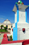 Fort-Liberté, Nord-Est Department, Haiti: Place d'Armes, the main square - fountain and the Cathedral - photo by M.Torres