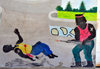 Fort-Libert�, Nord-Est Department, Haiti: mural painting - massacre during the rebellion - stage at the Place d'Armes - photo by M.Torres