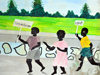 Fort-Libert�, Nord-Est Department, Haiti: mural painting - children demonstrate for peace and reconciliation - stage at the Place d'Armes - photo by M.Torres
