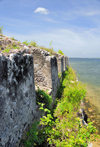 Fort-Libert�, Nord-Est Department, Haiti: Fort Dauphin - northern battlement and the bay - crenellation - photo by M.Torres