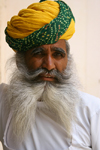 Jodhpur, Rajasthan, India: bearded man in a turban - French fork beard - photo by M.Wright