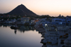 Pushkar, India, Rajasthan: waterfront at dusk - Nawal Sagar artificial lake - photo by M.Wright