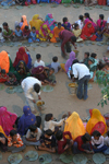 India - Rajasthan - women and children celebrating a new temple - photo by E.Andersen