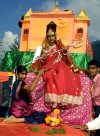 India - Narendranager (Uttaranchal): girl dressed as deity - festival of Navaratri (photo by Rod Eime)