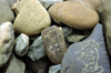 India - Ladakh - Jammu and Kashmir: Mani stones with the mantra Om Mani Padme Hum - religion - Buddhism - photo by W.Allg�wer