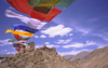 India - Ladakh - Jammu and Kashmir - Leh: prayer flags connect the two peaks of the peak of victory - Namgyal Tsemo Gompa in the background - photo by W.Allg�wer