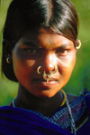 Orissa, India: a girl with pierced nose - Bonda people - photo by E.Petitalot