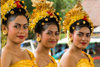 Padangbai, Bali, Indonesia: portrait of three young Balinese woman wearing traditional attire - photo by D.Smith