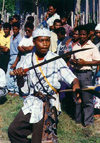 Indonesia - Gorong island (Watubela islands, Moluccas): performer with sabre - photo by G.Frysinger
