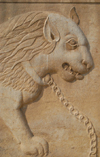 Iran - Shiraz: chained lion - bas-relief -Qavam House - Narenjestan e Qavam - photo by M.Torres