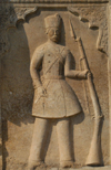 Iran - Shiraz: Qajar soldier - bas-relief - Qavam House - Narenjestan e Qavam - photo by M.Torres