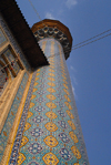 Iran - Shiraz: tiled minaret - seen from the base - mausoleum of Sayyed Aladdin Hossein - photo by M.Torres