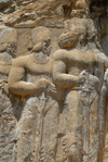 Iran - Naqsh-e Rajab: Shapur's Parade - noblemen - courtiers  following king Shapur I - rock carving - photo by M.Torres