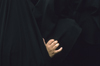 Iran: women - hand and black chadors - photo by W.Allgower