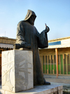 Isfahan / Esfahan, Iran: staute of Bishop Khachatoor near Vank Cathedral - Jolfa or New Julfa, the Armenian quarter - photo by N.Mahmudova