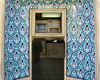 Isfahan / Esfahan, Iran: cash machine in a mihrab style nice with blue tiles - ATM, a modern qibla - photo by N.Mahmudova