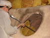 Yazd, Iran: baker and tandoor oven with bread on the walls - bakery - photo by N.Mahmudova