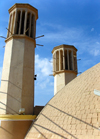 Yazd, Iran: dome and two wind towers at the Shesh Badgiri cistern - badgirs - Ab Anbar - photo by N.Mahmudova