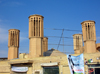 Yazd, Iran: former water reservoir, now a gym,  with four windtowers - badgirs - badjeers - windcatchers - photo by N.Mahmudova