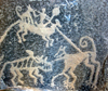 Yazd, Iran: hunting scene - petroglyphs from Ernan village - Alexander's Prison - photo by N.Mahmudova