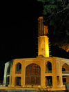 Yazd, Iran: yazd bagh e Dovlat Abad garden at night - tall windcatcher - photo by N.Mahmudova