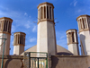 Yazd, Iran: Shesh Badgiri anbar or 'Six wind catcher' reservoir - Qajar period - wind towers - photo by N.Mahmudova