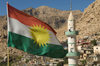 Akre / Aqrah, Kurdistan, Iraq: Kurdish flag and minaret - Alay Rengîn - photo by J.Wreford