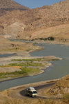 Zab River, Kurdistan, Iraq: Kurdish Landscape - bus on the road along the river - photo by J.Wreford
