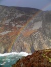 Ireland - Slieve League sea cliffs / Grey Mountain  (county Donegal): rainbow - the highest sea cliffs in western Europe (photo by R.Wallace)