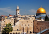 Jerusalem, Israel: Dome of the Rock, Western Wall and the Ghawanima Minaret - northeast corner of the Western Wall plaza and Temple Mount (Esplanade of the Mosques) - Arab quarter in the background - photo by M.Torres